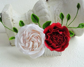 Pink Peach Red Rose Flower Collage Hair Comb. Peach Wedding Bridal Flower Hair Comb, Flower Girl Bridesmaid Comb