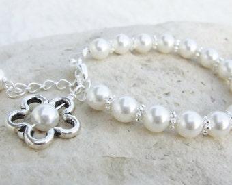 Bracelet Flower Girl First Communion Swarovski Pearl Girls  B023