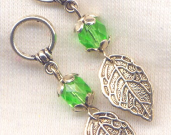 Leaves Knitting Stitch Markers Green Faceted silver Leaf Set of 5/SM70A