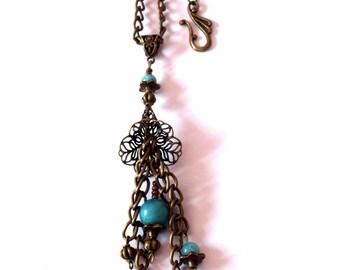 Necklace Bohemian bronze color, aqua amazonite