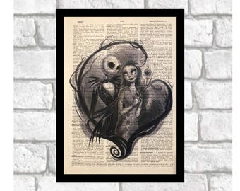 Nightmare Before Christmas Jack Skellington & Sally Print Art on 8x10 upcycled dictionary page ~ Can be Customized!