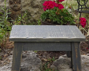 "Reclaimed wood riser, gray, rustic, farmhouse, step stool 8"" - 10"" H"
