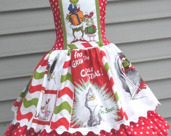 Made to Order Custom Boutique Red Green Chevron  Grinch Whoville Seuss Christmas Dress Girl Sizes 4 5 6 7 or 8