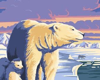 Alaska - Polar Bear at Sunrise (Art Prints available in multiple sizes)
