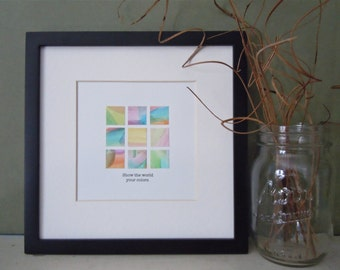 Framed Watercolor Collage - Contemporary Square Art - Square  Frame - Graduation Gift - Watercolor Mosaic - Pastel Art - Gallery Wall Art