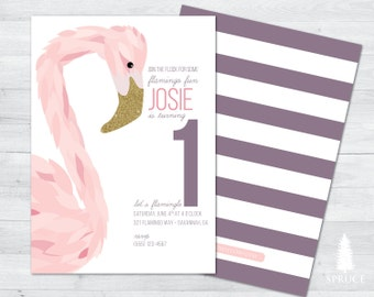 flamingo birthday invitation, flamingo birthday party invitation, flamingo invitation