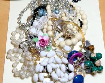 Vintage jewelry lot for craft harvest, jewelry supplies, assemblage supplies, vintage craft lot, broken jewelry lot, L3