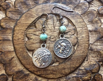 Roman coin drop earrings with African turquoise