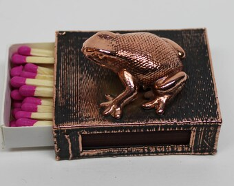 Copper Vintage Frog Match Box Holder - A decorative way to cover your safety matches