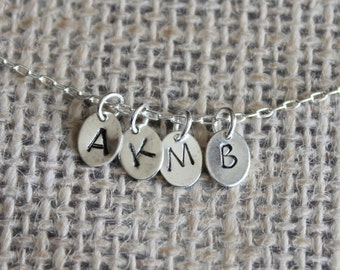 Custom Initial Silver Disc Pendant  | Personalized Jewelry | Add a Hand-stamped Initial Charm to Any Pendant Necklace (Small)