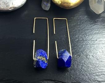 Lapis Lazuli Hoops, Lapis Lazuli Earrings, Threader Hoop Earrings, Rectangle Hoops, Rectangle Earrings, Lapis Crystal Earrings