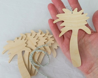 Wooden Palm Tree, Ornament, DIY party favor, set of 6, Unfinished, holiday decoration, nautical, beach silhouette shape, party favor