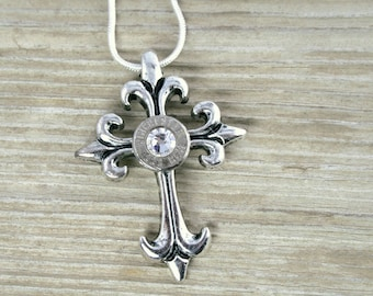 Bullet Necklace / 223 Thin Winchester Nickel Bullet Cross Necklace WIN-223-N-BBN / Lightweight Necklace / Cross Necklace / Wedding Jewelry