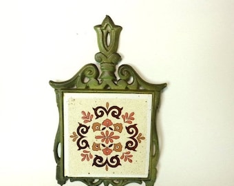 May Sale Event Vintage Green Cast Iron and Ceramic Trivet, Kitchen Wall Hanging, Taiwan