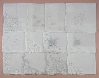 Vintage Hanky Lot,Wedding Hanky Lot,One Dozen White Wedding Vintage Hankies Handkerchiefs (Lot #85)
