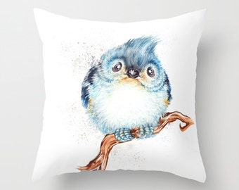 "Throw Pillow Cover with pillow insert Indoor, - titmouse - nursery - babies -owl - woodland - fine, bird, nursery - babies ""  song bird"""""