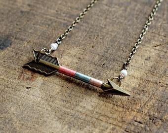 Arrow Necklace, Arrow Jewelry, Archery Necklace, Archery Jewelry, Arrow, Bronze Arrow - Cotton Candy Arrow Necklace (Bronze)