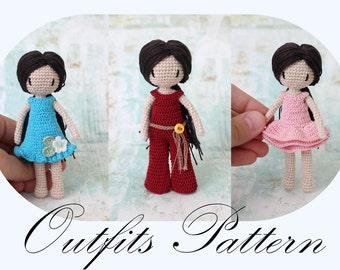 PATTERN: Doll Outfits, Amigurumi Pattern, Crochet Pattern (Doll Pattern of 4 Inch Doll - Sold Separately) English Only