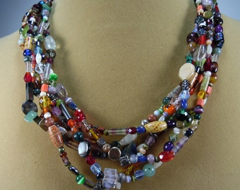 "handmade one of a kind colorful chunky 6 strand 20 1/2"" necklace"