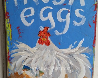 Folk Art #250 Funky colorful chicken signs