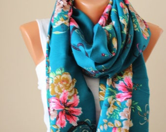EXPRESS SHIPING Green scarf Teal Green scarf Russian scarf Soviet scarf Floral scarf Fringe scarf Boho Shawl Valentine's day gift