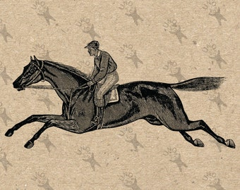Vintage Race Rider Horse Steed Instant Download picture Digital printable clipart graphic stickers scrapbooking home decor prints 300dpi