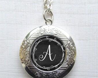 Personalized Locket, Custom Monogram Necklace, Photo Locket