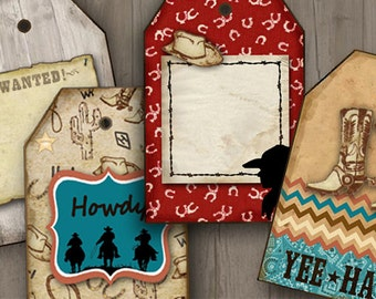 Country Western Digital Download, Cowboy Gift Tags, Cards, birthday party printables, Cowboy boots, Howdiy, YeeHaw, Colorful party decor