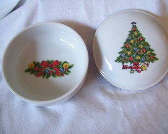 Christmas Treasure Jamestown China Candy Dish Trinket Box Tree Ornaments Candles