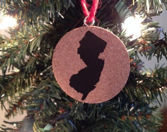New Jersey Christmas Ornament - Cork Ornament - NJ Decoration - New Jersey Gift - Jersey Girl Christmas Gift - Holiday Gift - NJ Ornament