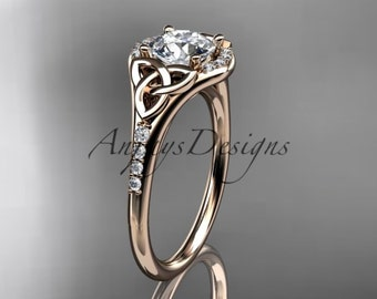14kt  rose gold diamond celtic trinity knot wedding ring, engagement ring  CT7126