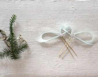 Mint Green Fascinators, Mint Hair Pins, Bridal Hair Clips, Bridesmaid Gift, Wedding Hair Pins, Mint Green Hair Accessories