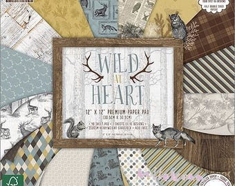 """Lot 16 leaves 20 X 20 cm """"Wild At Heart"""" background papers (ref.110) *."""