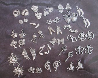 50 silver charms mixed 25 patterns different #a