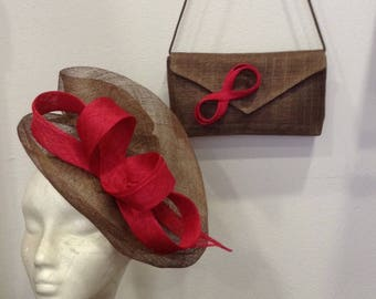 Taupe clutch and Fascinator ceremonial adornment and raspberry red shape double scrolls