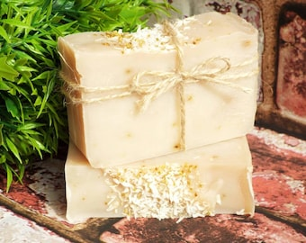Homemade soap, Coconut & Lime soap bar, bath gift, beauty products, exfoliating soap, SLS-free