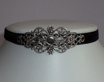 Gothic Choker Velvet Black Necklace Collar Witch Victorian Jewelry