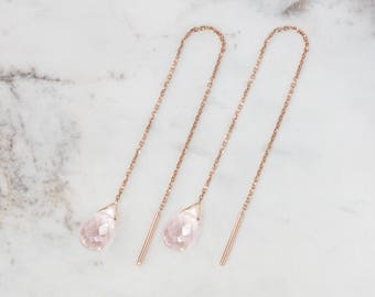 Rose Quartz Earrings, Gold Chain Earrings, 14K Gold Earrings, Rose Gold, Pink Quartz Earrings, Quartz Drop, Gold Threaders, Quartz Threaders