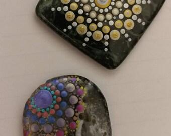 Polished stone mandala magnets
