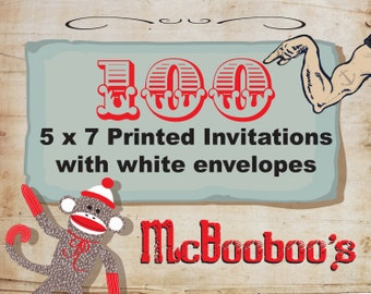 "100 high quality 110lb weight 5"" x 7"" invitations with standard white envelopes."