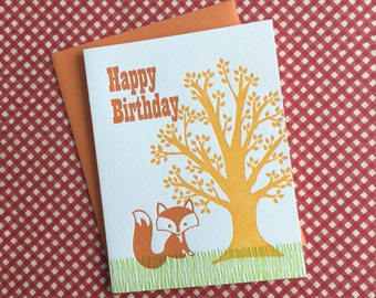 Fox Birthday Letterpress Card