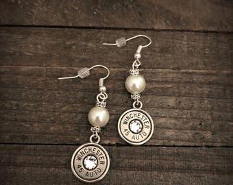 Pearl dangle bullet earrings