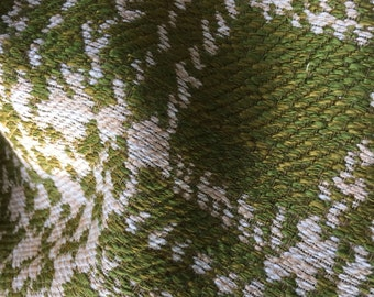 Vintage olive and cream upohlestry fabric. approx 54 inches wide