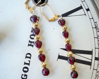 Garnet and Gold dangle earrings - Glass heart shape garnet beads - Gold metal beads - FSU earrings - Florida State jewelry - bycat
