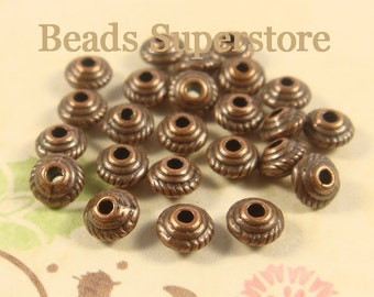 5 mm x 3 mm Antique Copper Spacer Bead - Nickel Free, Lead Free and Cadmium Free - 30 pcs