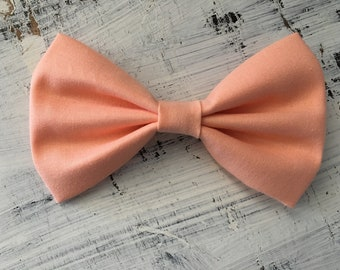 Solid Coral/ Salmon/ Peach Pastel Classic Fabric Hair Bow