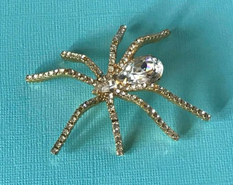 Vintage rhinestone spider pin, large spider pin, bug pin, insect pin, spider brooch, spiders, spider jewelry, Halloween pins, spider pins