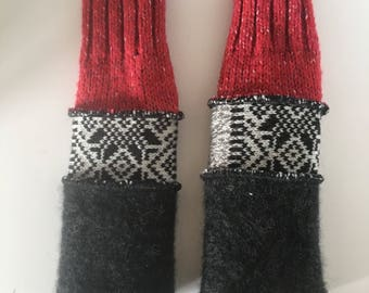 Upcycled fingerless gloves, typing gloves, wrist warmers, arm warmers, texting gloves, driving gloves