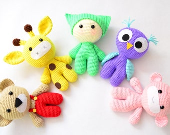 Amigurumi Crochet Patterns: Baby and Animal Friends. Crochet Toy Pattern. Crochet Animal Pattern. Crochet Owl Giraffe Bear Monkey Pattern