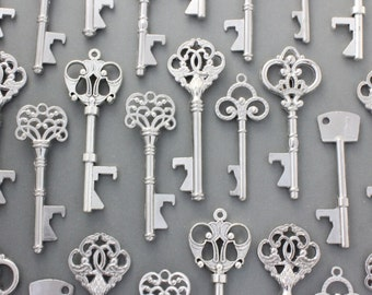 150 Pcs Antiqued Silver Skeleton Keys bottle openers Mix